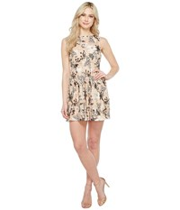 Aidan Mattox Embroidered Sequin Cocktail Black Nude Women's Dress Multi
