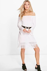 Boohoo Off The Shoulder Fringe Dress White