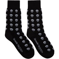 Alexander Mcqueen Black And White Short Skull Socks