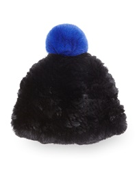 Surell Rabbit Fur Pom Pom Beanie Black
