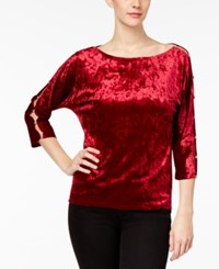 Cable And Gauge Embellished Cutout Top Cherry Red