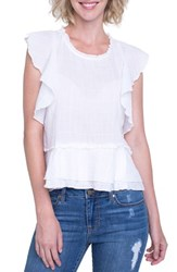Liverpool Jeans Company Ruffle Cotton Blend Top White