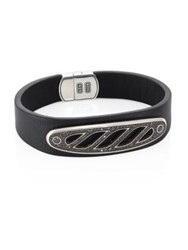 David Yurman 1.67 Tcw Black Diamonds And Sterling Silver Graphic Cable Leather Id Bracelet