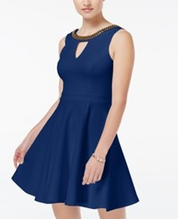 Xoxo Juniors' Beaded Fit And Flare Dress Navy