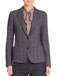 Eleventy Windowpane Blazer Navy