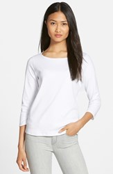 Women's Eileen Fisher Ballet Neck Three Quarter Sleeve Top