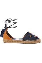 Dolce And Gabbana Raffia Trimmed Embellished Denim Leather Espadrilles Dark Denim