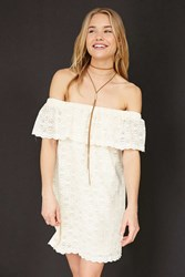 Kimchi And Blue Lace Ruffle Off The Shoulder Mini Dress Beige