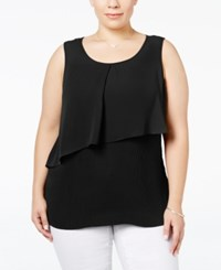 Ny Collection Plus Size Pleated Popover Tank Top Black Sono