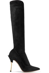 Dolce And Gabbana Cardinale Stretch Suede Knee Boots Black