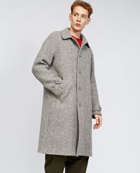 Aspesi Macro Herringbone Wool Coat Perturbato Grey Brown