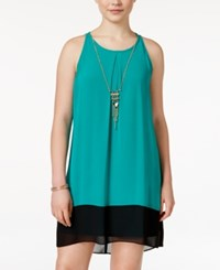 Amy Byer Bcx Juniors' Sleeveless Colorblocked Shift Dress Bright Green