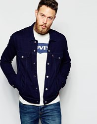Levi's Trucker Jacket French Terry Sweat In Indigo Indigo Blue
