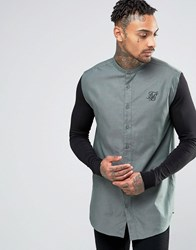 Sik Silk Siksilk Shirt With Jersey Sleeves In Skinny Fit Khaki Green