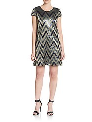 Romeo And Juliet Couture Sequined Chevron Striped A Line Dress Navy Silver