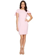 Adrianna Papell Knit Crepe Small Shoulder Cape Dress Taffy Pink Women's Dress