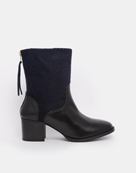 Ymc Leather Zip Back Heeled Ankle Boots Navyblack