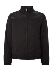 Michael Kors Leather And Nylon Mix Harrington Jacket Black