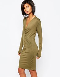 Vila Wrap Front Body Conscious Dress Ivy Green