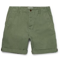 Mr P. Garment Dyed Cotton And Linen Blend Twill Shorts Army Green