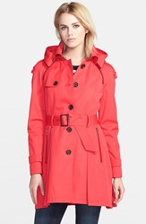 Women's French Connection Single Breasted Skirted Trench Coat With Removable Hood