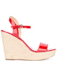 Michael Michael Kors Wedge Sandals Women Goat Skin Leather Rubber 6 Red