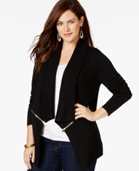 Inc International Concepts Plus Size Drape Front Zipper Trimmed Cardigan Only At Macy's Deep Black