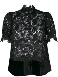 N 21 No21 Lace High Neck Blouse Women Silk Polyester Viscose 38 Black