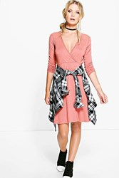 Boohoo Long Sleeve Wrap Over Skater Dress Rose