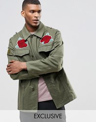 Reclaimed Vintage Military Jacket With Souvenir Rose Patches Khaki Green
