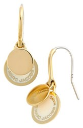 Marc By Marc Jacobs Women's Enamel Logo Disc Drop Earrings Cream