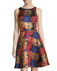 Tahari By Arthur S. Levine Floral Jacquard Sleeveless Fit And Flare Dress Multi Pattern