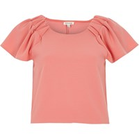 River Island Womens Pink Ruched Sleeve T Shirt