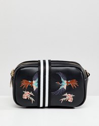Liquorish Bird Embroidered Camera Bag With Webbing Strap Black Multi
