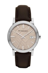 Burberry Men's Brown Leather Strap Watch Multi