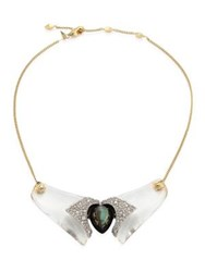 Alexis Bittar Lucite Crystal Encrusted Bib Necklace Gold Multi
