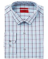 Alfani Red Men's Fitted Performance Turquoise Grey Large Outline Check Dress Shirt Only At Macy's