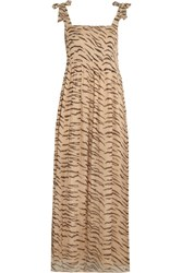 Ganni Whitman Animal Print Plisse Chiffon Maxi Dress Sand