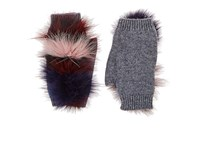 House Of Lafayette Women's Fur Trimmed Cashmere Fingerless Gloves Grey