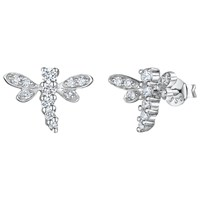 Jools By Jenny Brown Cubic Zirconia Dragonfly Stud Earrings Silver