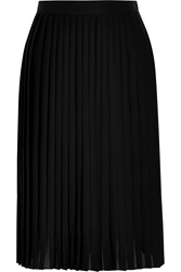 Givenchy Pleated Skirt In Black Matte Satin