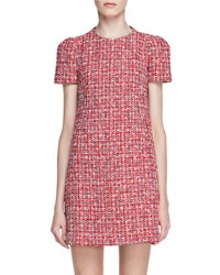 Alexander Mcqueen Short Sleeve Tweed Shift Dress Red