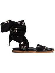 Marques Almeida Marques'almeida Floral Embroidered Flat Wrap Sandals Leather Cotton Black