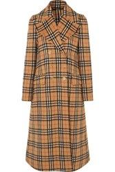 Burberry Double Breasted Checked Alpaca And Wool Blend Coat Beige