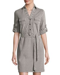 Max Studio Diamond Print Knit Shirtdress Blk Ivy