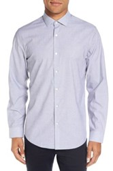 Calibrate Trim Fit End On End Dobby Sport Shirt Blue