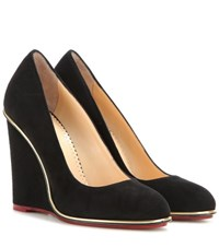 Charlotte Olympia Carmen 100 Suede Wedges Black