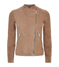 Reiss Sophie Suede Biker Jacket Female Brown