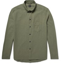 Albam Button Down Collar Cotton Shirt Army Green