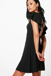 Boohoo Dahlia Frill Sleeve Open Back Skater Dress Black